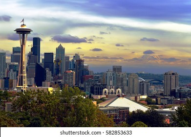 Seattle Space Needle With Mount Rainier