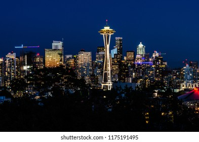 The Seattle Space Needle & the Seattle Skyline in Seattle, Washington, USA on the 4th August 2018