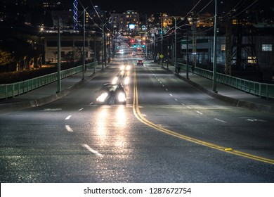 Seattle Street View of Car Light Streaks on Road at Night