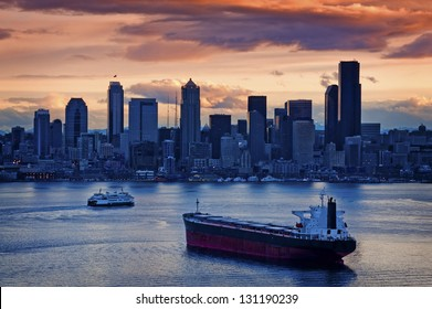 Seattle Sunrise Over Elliott Bay. A beautiful sunrise overlooking Elliott Bay and the Seattle Skyline.