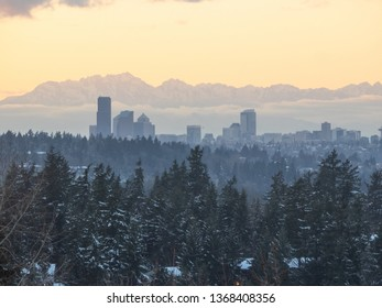 Seattle sunset skyline view on sunny winter day.