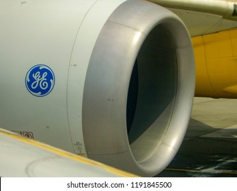 SEATTLE TACOMA AIRPORT, WA, USA - JUNE 2018: Close up view of a General Electric GEnx jet engine on a Boeing 787 Dreamliner at Seattle Tacoma airport.