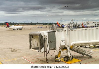SEATTLE TACOMA AIRPORT, WA, USA - JUNE 2018: Empty jet bridge at Seattle Tacoma airport