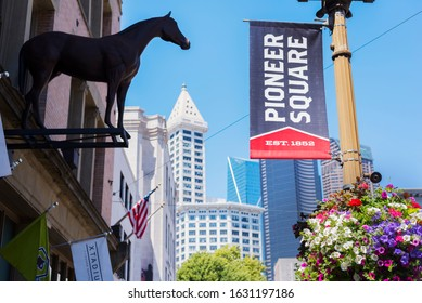 Seattle, United States - June 15, 2019: Low angle view of Pioneer Square view with view of buildings during warm summer day in downtown Seattle.
