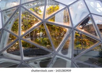 Seattle, United States: October 6, 2018: Close Up of Amazon Spheres along Seattle sidewalk