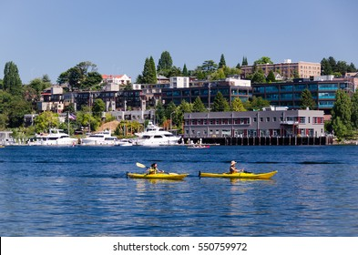 Seattle, USA - August 25, 2010: A couple of kayakers enjoying a sunny day on Lake Union