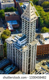 Seattle, USA, August 31, 2018: Big beautiful view of Smith Tower building.