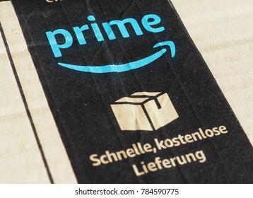 SEATTLE, USA - CIRCA DECEMBER 2017: Amazon prime label on a parcel
