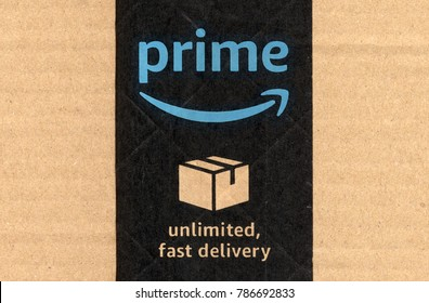 SEATTLE, USA - CIRCA DECEMBER 2017: Amazon prime label on a parcel