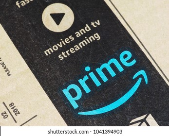SEATTLE, USA - CIRCA MARCH 2018: Amazon prime label on a parcel