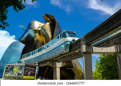 SEATTLE, USA, - JULY, 18, 2012: Monorail, Seattle - in front of the EMP Museum in the Seattle Centre, USA