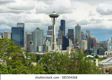 SEATTLE, USA - JUNE 24, 2016: View of Space needle and other buildings in Seattle, Washington, USA