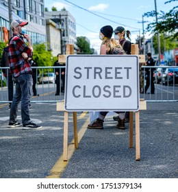 SEATTLE, USA - JUNE 6, 2020: Streets closed around the police precinct during a protest against racism