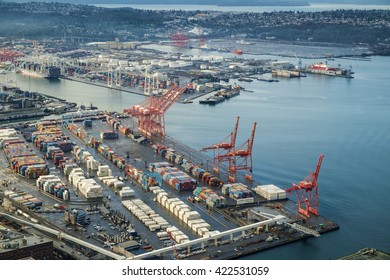 Seattle, USA March 16 2016 - The Port of Seattle with Harbor Island