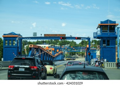 Seattle, USA May 13 2016: Traffic stops as the Fremont Bridge opens for marine traffic