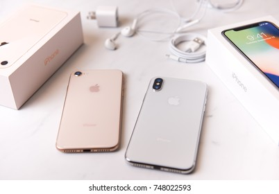 SEATTLE, USA - November 3, 2017: New iPhone X and iPhone 8. Glass Backs and Difference in Cameras Shown.