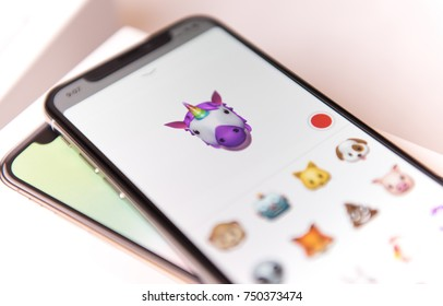 SEATTLE, USA - November 3, 2017:  iPhone X  in Messaging App with new Animoji Option.