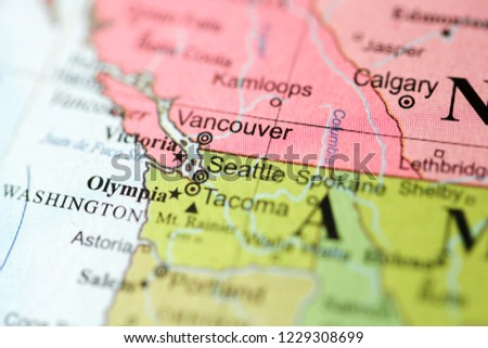 Seattle Usa On Geography Map Stock Photo Edit Now 1229308699