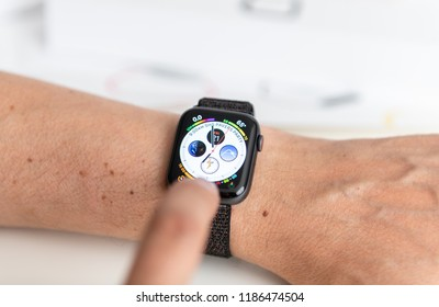 SEATTLE, USA - SEP 21, 2018: Close Up of New Apple Watch, Series 4 in Space Gray