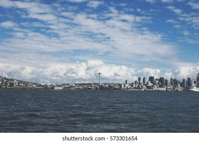 Seattle, as viewed from Elliott Bay in the Puget Sound.