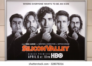SEATTLE, WA -25 APRIL 2014- Billboard poster showing Steve Jobs look-alikes advertising the show Silicon Valley, an American television comedy series on HBO focusing on the creation of a start-up.