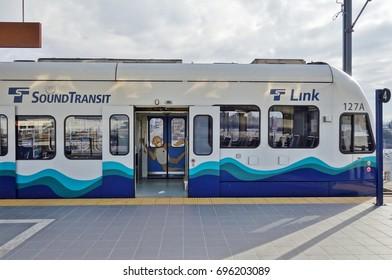 SEATTLE, WA -25 FEB 2017- A Sound Transit Link Light Rail tram car in downtown Seattle.