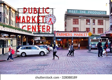 SEATTLE, WA -7 APRIL 2014- Opened in 1907, the Pike Place Market overlooking the Elliott Bay in Seattle is one of the oldest continuously operating public markets in the United States.