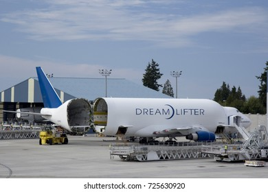 Seattle, WA Aug 25, 2017 - A Boeing Dreamlifter is loaded with aircraft parts at Paine Field