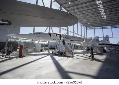 Seattle, WA Aug 25, 2017 - A retired Concorde on display at the airline pavilion at the Boeing Museum of Flight