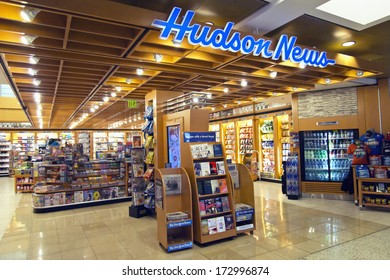 SEATTLE, WA - AUGUST 11, 2013: A Hudson News store pictured at Seattle Tacoma International Airport on August 11, 2013.  Hudson News is the world's largest airport newsstand retailer.