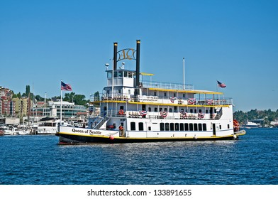 SEATTLE WA AUGUST 24 Steam Powered Paddle Boat Named Queen Of Seattle