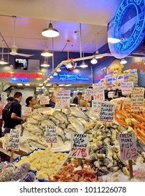 SEATTLE, WA - AUGUST 29, 2016: Seafood display at a vendor at Seattle's Pike Place Market.
