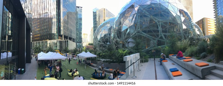 Seattle Wa circa August 2019, panorama view of the Amazon world headquarter campus showing an outdoor event next to the Spheres.