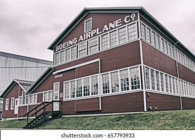 SEATTLE, WA - CIRCA FEBRUARY 2017: The Boeing Red Barn (Building No. 105), part of the 1917-era Boeing Plant 1 (Boeing Oxbow Plant), now part of the Museum of Flight in Seattle, Washington.