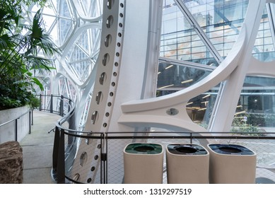 Seattle, Wa circa February 2019 Interior views of the Amazon world headquarters Spheres green house terrariums, trash, recycle and compost bins.
