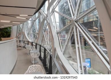 Seattle, Wa circa February 2019 Interior views of the Amazon world headquarters Spheres green house terrariums, empty low level seating along windows.