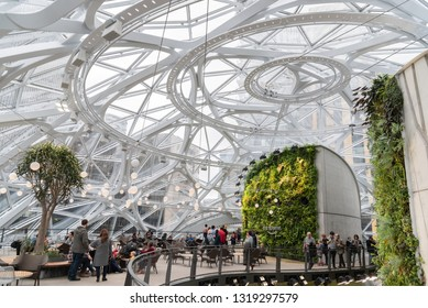 Seattle, Wa circa February 2019 Interior views of the Amazon world headquarters Spheres green house terrariums, top floor with sky view.