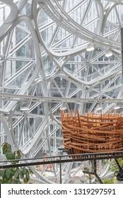 Seattle, Wa circa February 2019 Interior views of the Amazon world headquarters Spheres green house terrariums, birds nest.