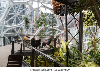 Seattle, Wa circa February 2019 Interior views of the Amazon world headquarters Spheres green house terrariums, work area with chairs and tables.