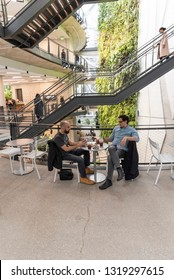 Seattle, Wa circa February 2019 Interior views of the Amazon world headquarters Spheres green house terrariums, co workers chatting and having coffee.