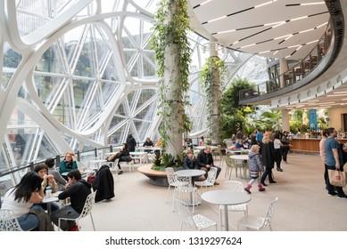 Seattle, Wa circa February 2019 Interior views of the Amazon world headquarters Spheres green house terrariums, large gathering area.