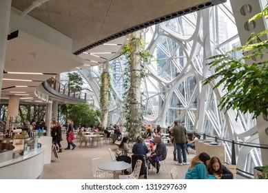 Seattle, Wa circa February 2019 Interior views of the Amazon world headquarters Spheres green house terrariums, cafeteria level.