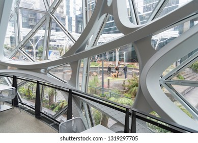 Seattle, Wa circa February 2019 Interior views of the Amazon world headquarters Spheres green house terrariums, hand railing with dog park.