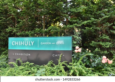 SEATTLE, WA - JUL 12: Chihuly Garden and Glass in Seattle, Washington, as seen on Jul 12, 2019. The exhibit in the Seattle Center showcases the studio glass of Dale Chihuly.