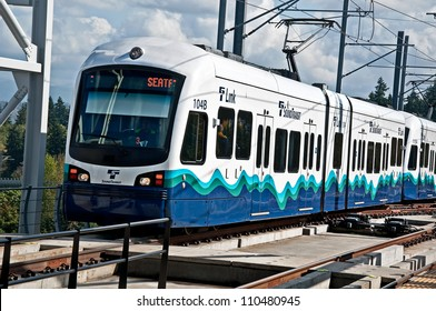 SEATTLE, WA - JULY 17:  The Link Light Rail public transit celebrated it 3rd successful year, with plans to increase its service area.  July 17, 2012 in Seattle, WA.