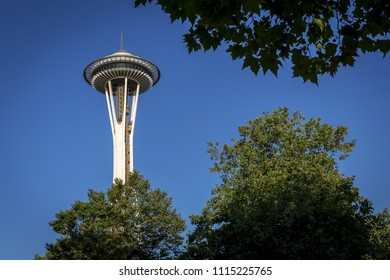 SEATTLE, WA - JULY 28, 2017: Built for 1962 World's Fair, Seattle's iconic Space Needle is one of the most recognizable landmarks in the world seen here from the city center below, on July 28, 2017
