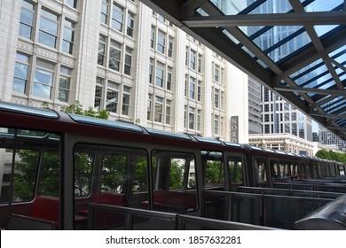 SEATTLE, WA - JUN 12: Seattle Center Monorail at Westlake Center  in Seattle, Washington state, on Jun 12, 2019. The 0.9-mile monorail runs between the Seattle Center and Westlake Center in downtown.