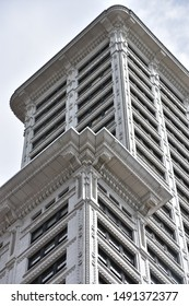 SEATTLE, WA - JUN 12: Smith Tower in Seattle, Washington, as seen on Jun 12, 2019. Completed in 1914, the 38-story, 484 ft tower is the oldest skyscraper in the city.