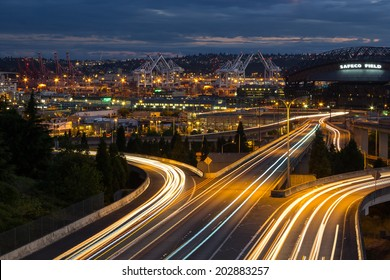 SEATTLE, WA - JUNE 29, 2014. Wide view at the Port of Seattle and nearby highways