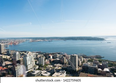 Seattle, WA - June 4, 2019: View of the Puget Sound on a nice Spring day as seen from the top of the Space Needle in downtown Seattle.